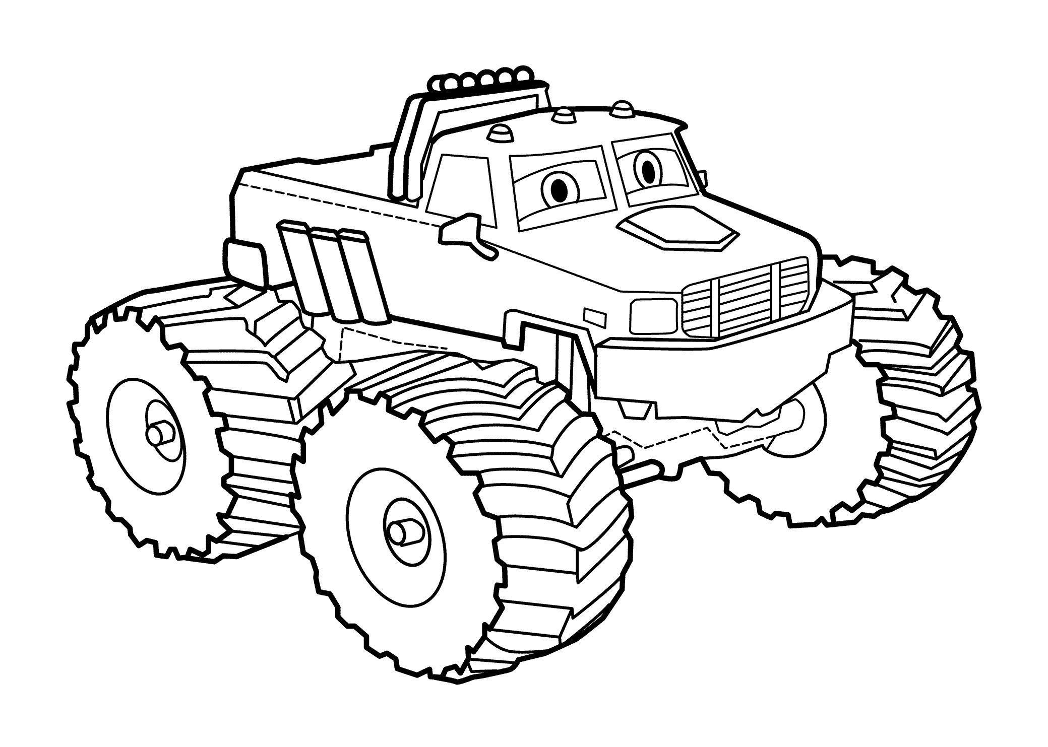 Джип с огромными колесами из мультфильма Картинки раскраски машины