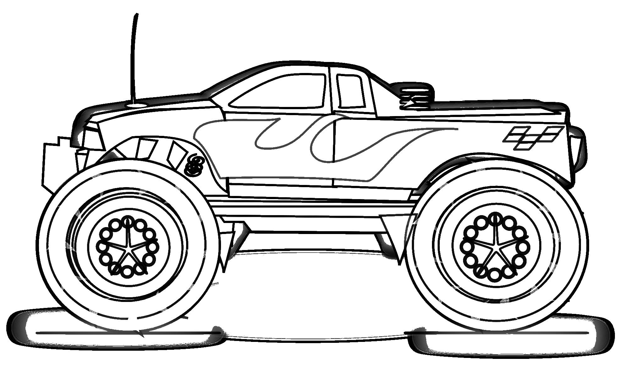 Огромный пикап вид с боку машина с антенной и большими колесами Картинки раскраски машины
