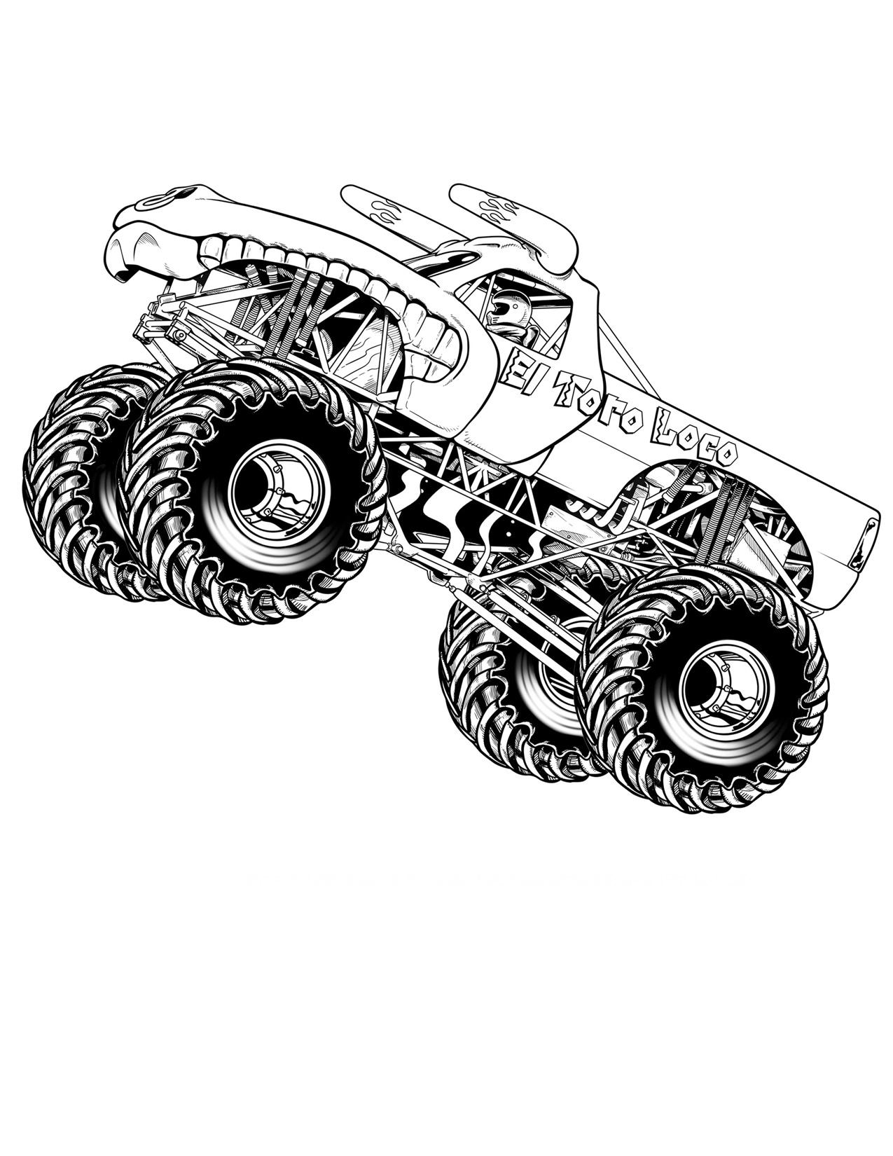 Огромный джип дракон с приподнятыми колесами Картинки раскраски машины