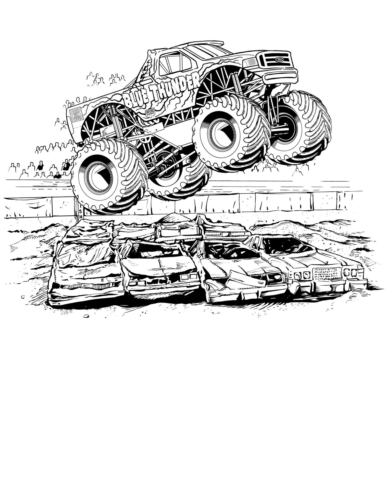 Огромная машина перепрыгивает через машины Картинки раскраски машины