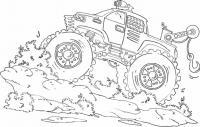 Джип с краном на бездорожье Картинки раскраски машины