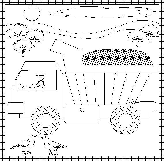 Грузовик едет по улице Раскраски машины бесплатно